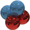 alpha particle, blue and red