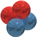 alpha particle, red and blue