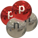alpha particle, red and silver, with p and n